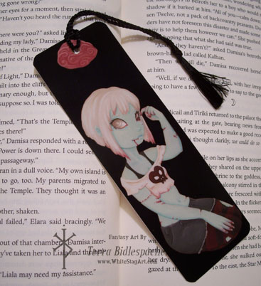 I heart zombie girl - Handcrafted bookmark